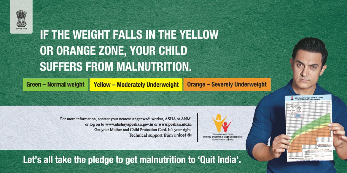 If the weight falls in the yellow or orange zone, your child suffers from Malnutrition.